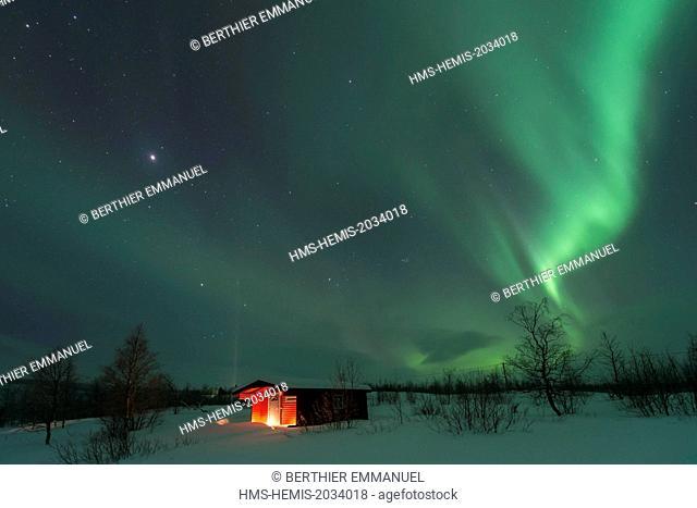 Sweden, Lapland, Norrbotten, Gällivare, northern light in Swedish Lapland near Nikkaluokta