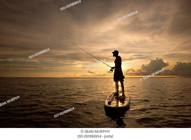 Man standing on paddle board, on water, at sunset, holding fishing rod