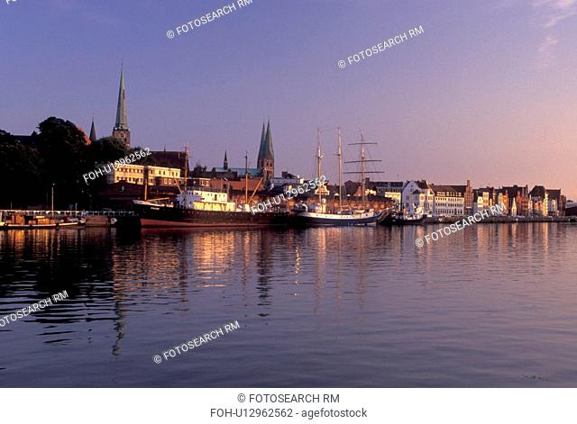 Germany, Lubeck, Schleswig-Holstein, Europe, Baltic Sea, Boats docked in the Hansahafen (harbor)