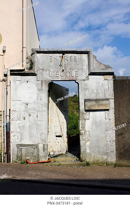 France, Western France, Pornic, old entrance of an abandoned school