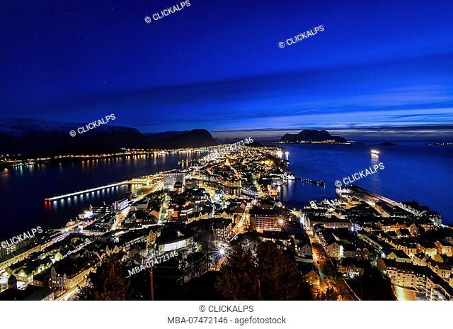 Blue hour cityscape at Alesund, Vestlandet, More og Romsdal county, Norway, Europe