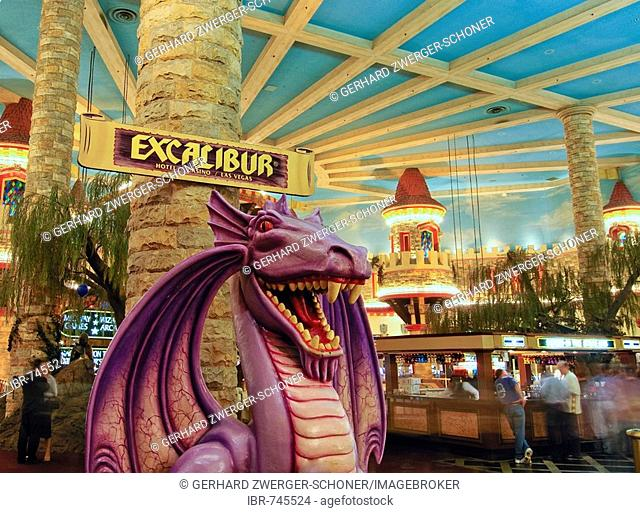 Dragon in the lobby of the Excalibur Hotel and Casino, Las Vegas Boulevard, Las Vegas, Nevada, USA, North America