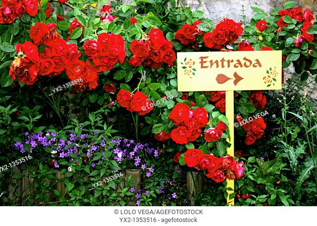 Entrance sign in rose garden
