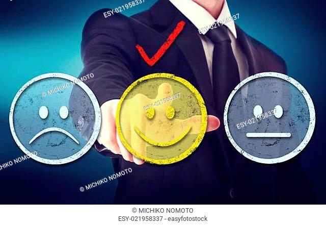 Business man with smiley faces