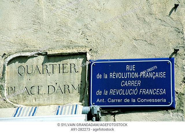 Street signs. Perpignan. Pyrenees-Orientales. Languedoc Roussillon. France