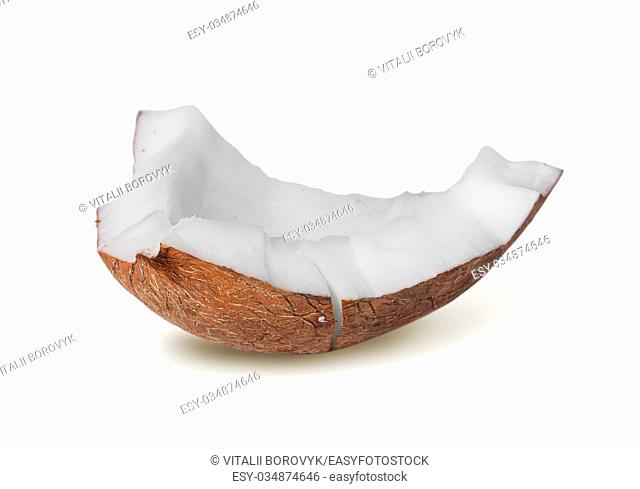 Single piece of coconut pulp rotated isolated on white background