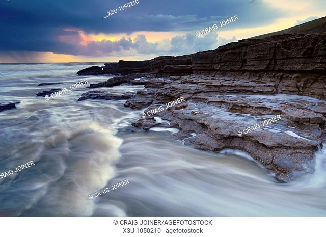 Storm at Dunraven Bay, Southerndown on the Glamorgan Heritage Coast, Wales