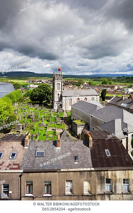 Ireland, County Limerick, Limerick City, elevated view of St. Munchin's Catholic Church