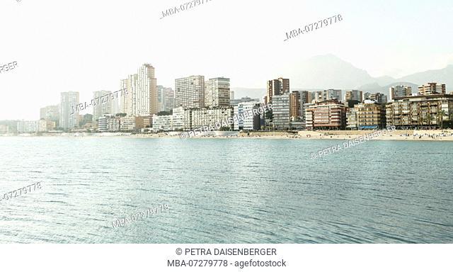 Bright panorama in Benidorm, town at the Mediterranean Sea, Spain, Europe