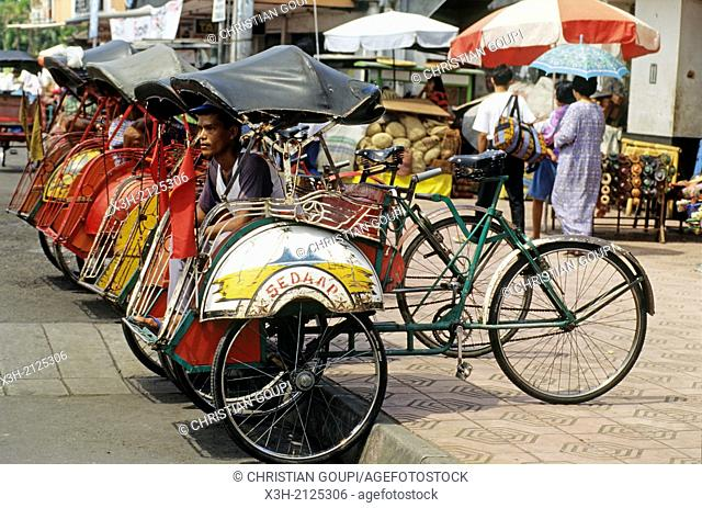 cycle rickshaw in Yogyakarta, Java island, Greater Sunda Islands, Republic of Indonesia, Southeast Asia and Oceania