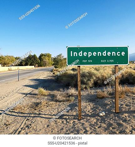 Sign for town named Independence