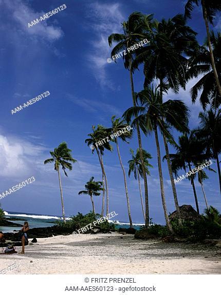 Beautiful Matareve Beach, Upolu Island, W. Samoa