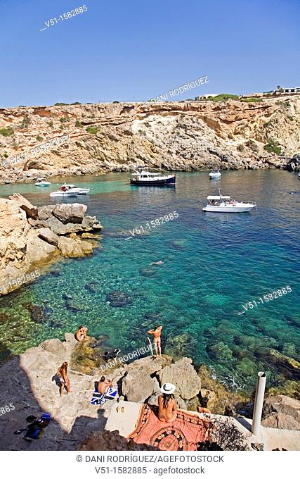 Cala Compte, beaituful paradise beach in Ibiza, Balearic Islands, Spain