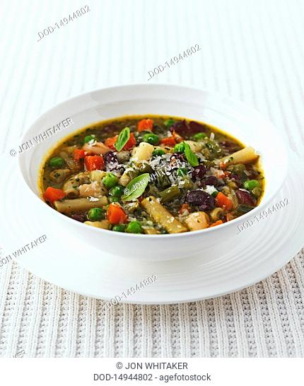 Genoese minestrone in bowl, close-up