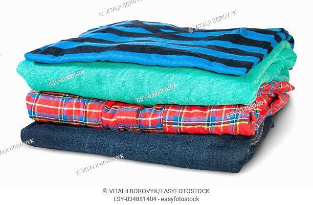 Stack Of Four Types Of Clothes Rotated Isolated On White Background