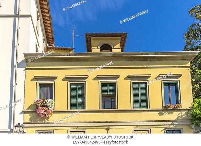 Yellow Florentine House Cityscape Overview Florence Tuscany Italy
