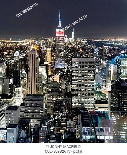 Aerial view of Empire State Building, New York, USA