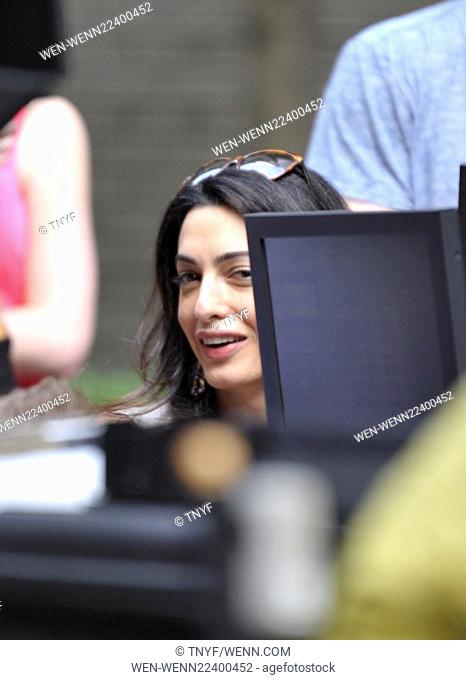 Amal Clooney visits her husband George Clooney on the set of 'Money Monsters' Featuring: Amal Clooney Where: Manhattan, New York