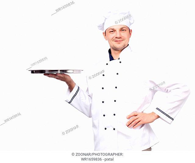 chef holding empty tray