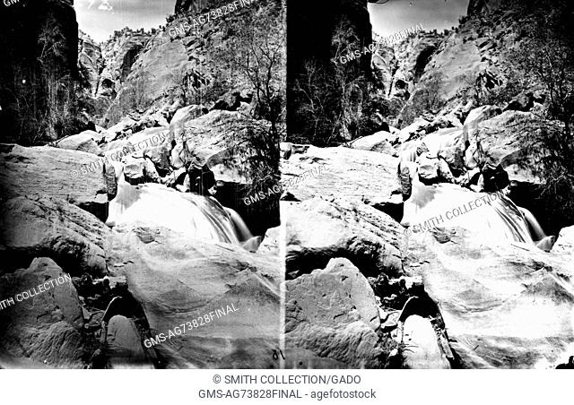 Stereograph of the Virgin River flowing through a rocky landscape, Utah, 1875. Image courtesy USGS