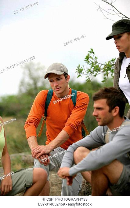Group of hikers taking a break