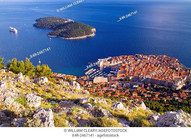 Old town Dubrovnik and Lokrum Island viewed from Srd Hill, Dubrovnik, Dalmatian Coast, Croatia