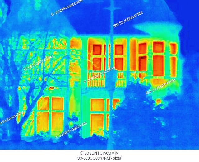 Thermal image of house on city street