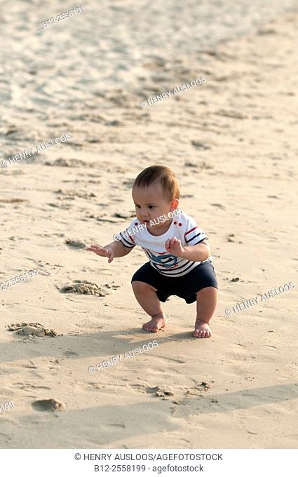 Baby on the beach, First steps on the sand