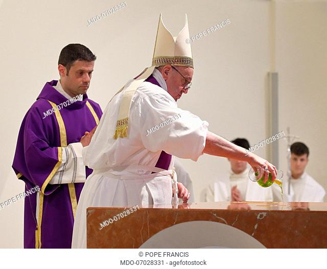 The rite of dedication of the altar of the new church during th Holy Mass celebrated by Pope Francis on the occasion of the pastoral visit to the roman parish...