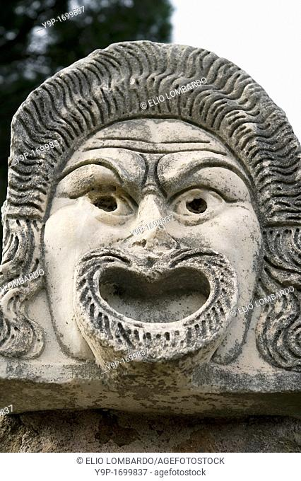 Stone Mask in the Roman Amphitheater  Ostia Antica, Rome, Italy