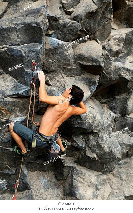 Rock Climber Shot From The Same Level
