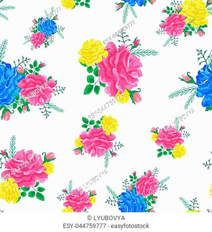 Beautiful seamless pattern with pink,blue and yellow roses on a white background.Vector illustration in the style of shabby chic