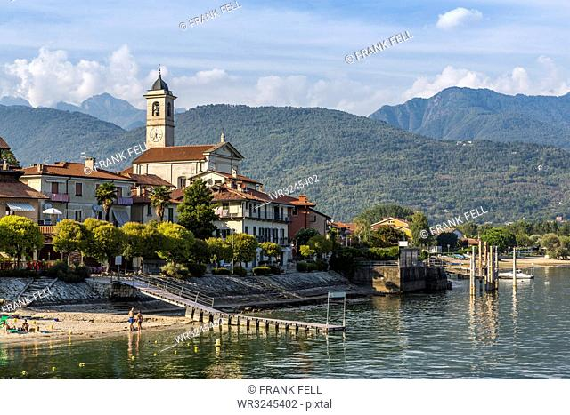 View of Feriolo town and church bell tower on Lake Maggiore, Lago Maggiore, Piedmont, Italian Lakes, Italy, Europe