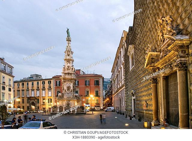Gesu Nuovo square, Naples, Campania region, southern Italy, Europe