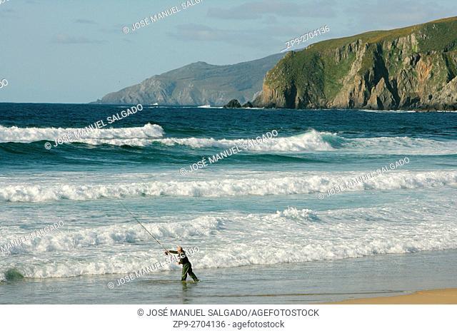 Sea fishing at the coast of Valdoviño, Galicia, Spain