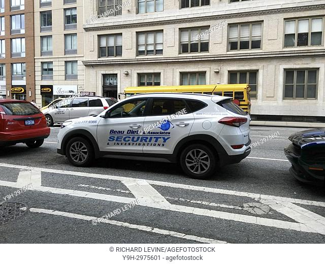 A vehicle from former NYPD detective and now private investigator Bo Dietl's fleet of cars for his private investigation business parked in Chelsea in New York...