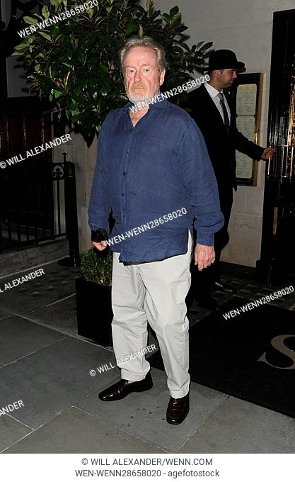 Michael Fassbender enjoys dinner at Scott's restaurant in Mayfair with director Ridley Scott and his wife Giannina Facio