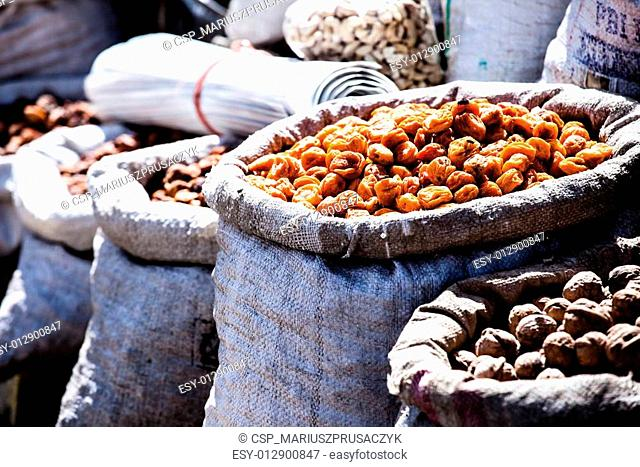 Dried fruits in local Leh market, India