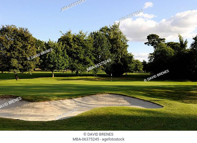View over bunkers to 1st Green Basingstoke Golf Club, Hampshire, England
