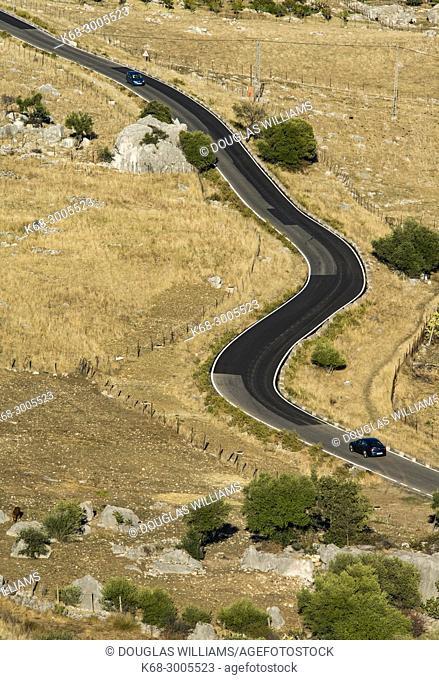 Road below the village of Grazalema, Cadiz province, Andalucia, Spain