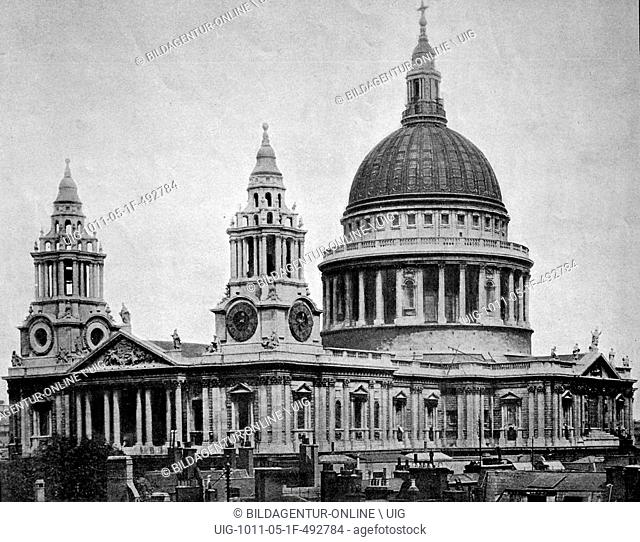Early autotype of st. paul's cathedral, london, england, united kingdom, 1880