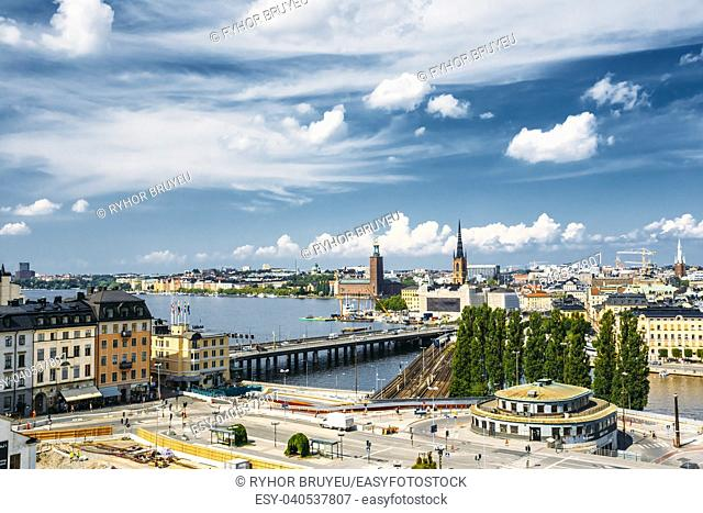 Scenic Summer Aerial View Of Old Town In Stockholm, Sweden