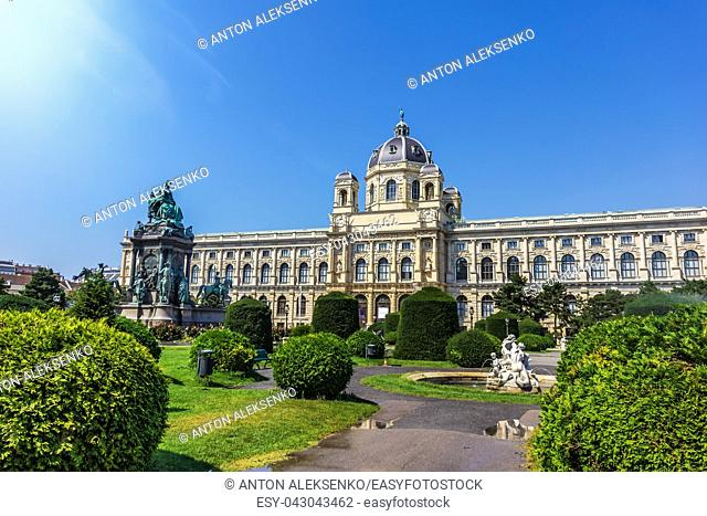 Maria Theresien Platz, a square and a park with monuments in the Museumsquartier of Vienna