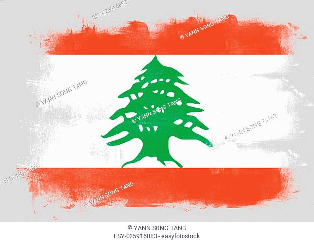 Flag of Lebanon painted with brush on solid background