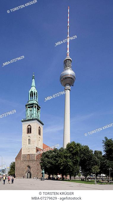 St. Mary's Church and Berlin TV Tower, Berlin-Mitte, Berlin, Germany, Europe