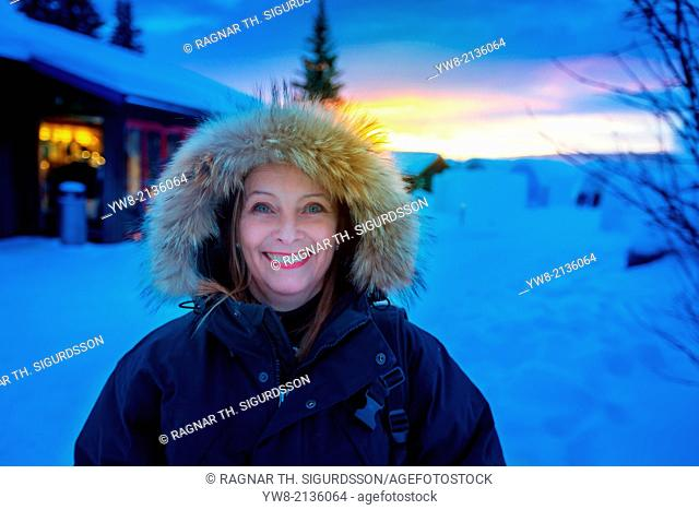 Portrait of a woman in cold temperatures in Jukkasjarvi, Lapland, Sweden