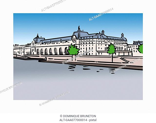Illustration of Musee d'Orsay in Paris, France