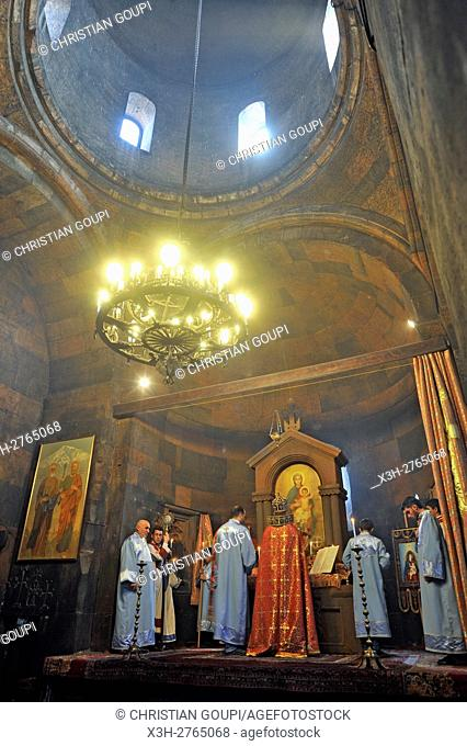 ceremony inside the Church of the Holy Mother of God (Surb Astvatzatzin) within Khor Virap Monastery, Ararat plain, Artashat, Armenia, Eurasia
