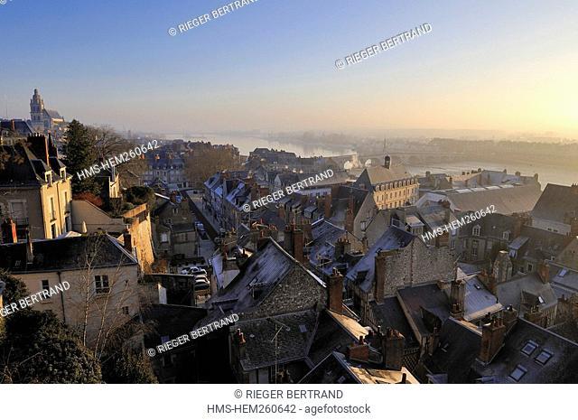 France, Loir et Cher, Blois, old city along the Loire river banks from the Gaston d'Orléans observatory at the Chateau de Blois