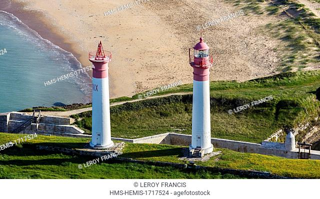 France, Charente-Maritime, Aix island, the lighthouses (aerial photography)